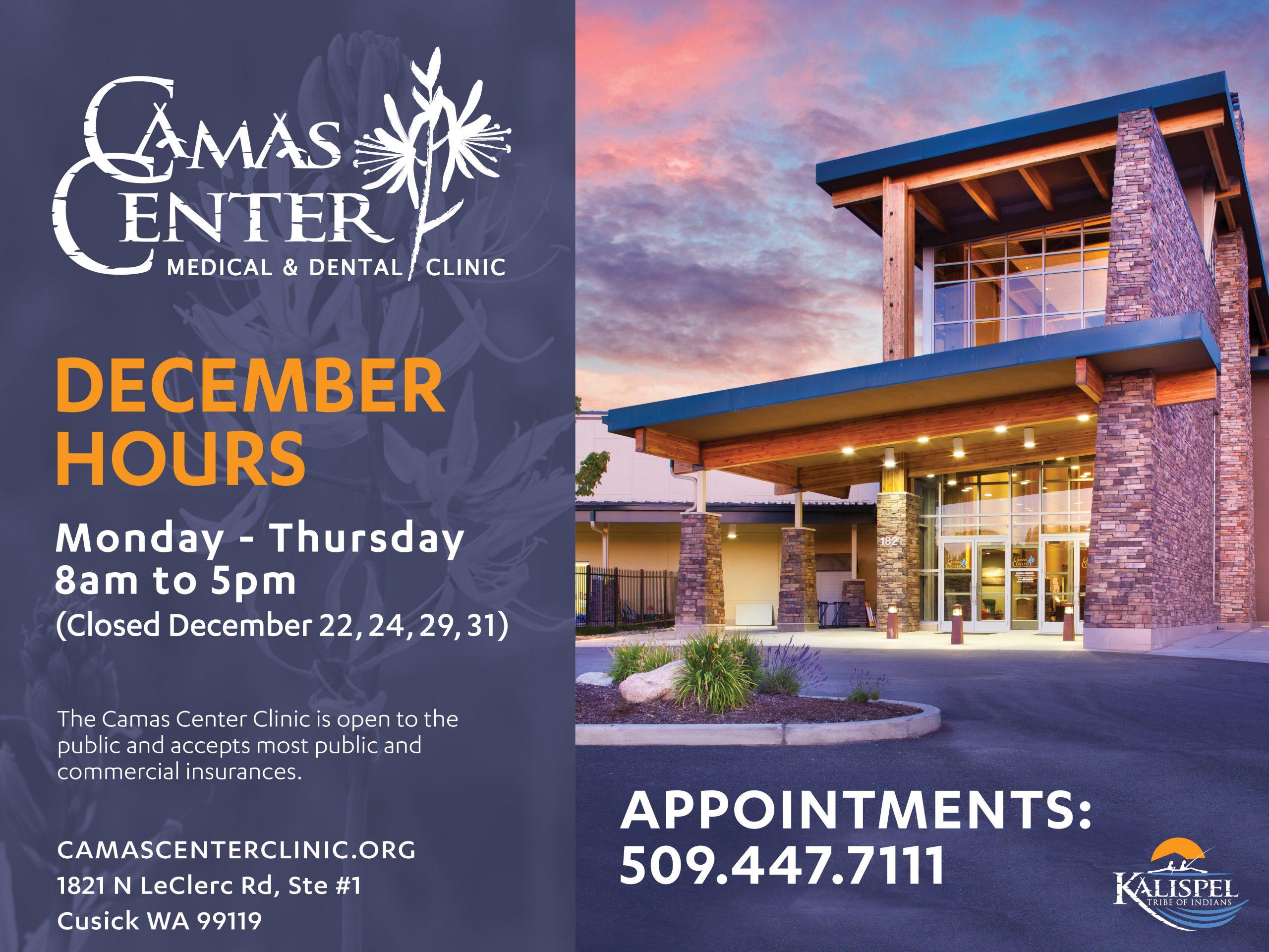 Camas Center Clinic Holiday Hours for December 2020